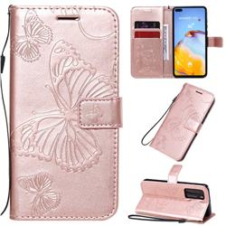 Embossing 3D Butterfly Leather Wallet Case for Huawei P40 - Rose Gold