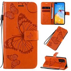 Embossing 3D Butterfly Leather Wallet Case for Huawei P40 - Orange