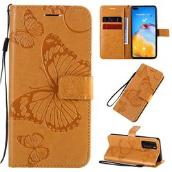 Embossing 3D Butterfly Leather Wallet Case for Huawei P40 - Yellow