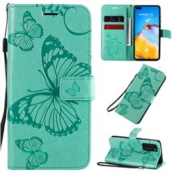 Embossing 3D Butterfly Leather Wallet Case for Huawei P40 - Green