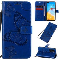 Embossing 3D Butterfly Leather Wallet Case for Huawei P40 - Blue