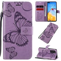Embossing 3D Butterfly Leather Wallet Case for Huawei P40 - Purple