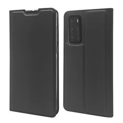 Ultra Slim Card Magnetic Automatic Suction Leather Wallet Case for Huawei P40 - Star Grey