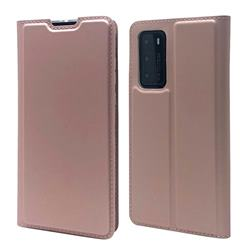 Ultra Slim Card Magnetic Automatic Suction Leather Wallet Case for Huawei P40 - Rose Gold