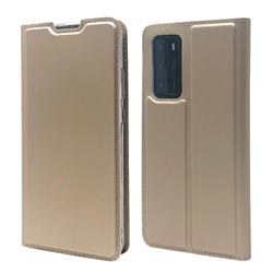 Ultra Slim Card Magnetic Automatic Suction Leather Wallet Case for Huawei P40 - Champagne