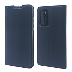 Ultra Slim Card Magnetic Automatic Suction Leather Wallet Case for Huawei P40 - Royal Blue