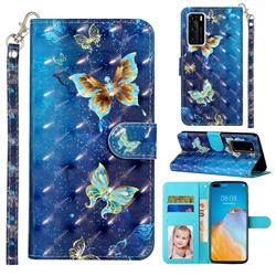Rankine Butterfly 3D Leather Phone Holster Wallet Case for Huawei P40