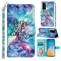 Blue Starry Sky 3D Leather Phone Holster Wallet Case for Huawei P40