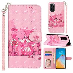 Pink Bear 3D Leather Phone Holster Wallet Case for Huawei P40