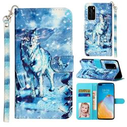 Snow Wolf 3D Leather Phone Holster Wallet Case for Huawei P40