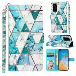 Stitching Marble 3D Leather Phone Holster Wallet Case for Huawei P40