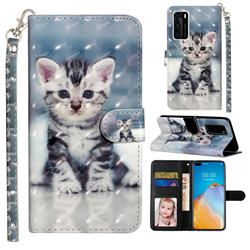 Kitten Cat 3D Leather Phone Holster Wallet Case for Huawei P40