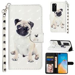 Pug Dog 3D Leather Phone Holster Wallet Case for Huawei P40