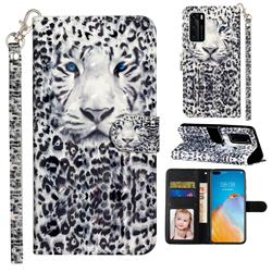 White Leopard 3D Leather Phone Holster Wallet Case for Huawei P40