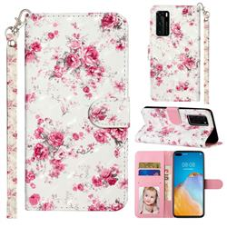 Rambler Rose Flower 3D Leather Phone Holster Wallet Case for Huawei P40