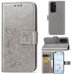 Embossing Imprint Four-Leaf Clover Leather Wallet Case for Huawei P40 - Grey