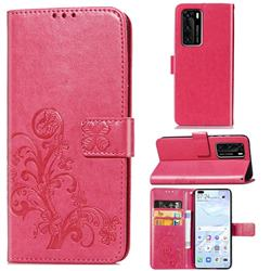 Embossing Imprint Four-Leaf Clover Leather Wallet Case for Huawei P40 - Rose Red