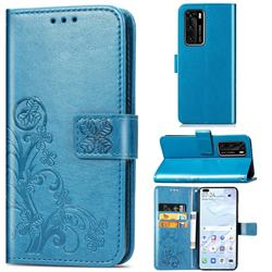 Embossing Imprint Four-Leaf Clover Leather Wallet Case for Huawei P40 - Blue