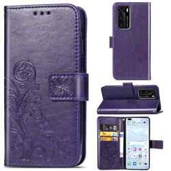 Embossing Imprint Four-Leaf Clover Leather Wallet Case for Huawei P40 - Purple