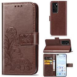 Embossing Imprint Four-Leaf Clover Leather Wallet Case for Huawei P40 - Brown
