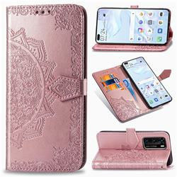 Embossing Imprint Mandala Flower Leather Wallet Case for Huawei P40 - Rose Gold