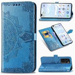 Embossing Imprint Mandala Flower Leather Wallet Case for Huawei P40 - Blue