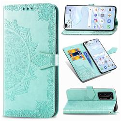 Embossing Imprint Mandala Flower Leather Wallet Case for Huawei P40 - Green