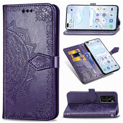 Embossing Imprint Mandala Flower Leather Wallet Case for Huawei P40 - Purple