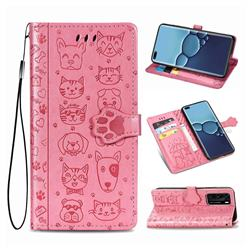 Embossing Dog Paw Kitten and Puppy Leather Wallet Case for Huawei P40 - Pink