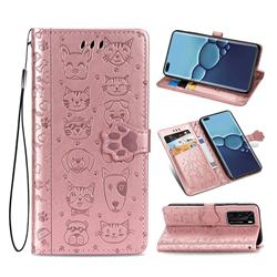 Embossing Dog Paw Kitten and Puppy Leather Wallet Case for Huawei P40 - Rose Gold