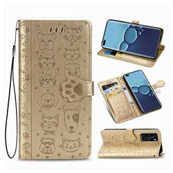 Embossing Dog Paw Kitten and Puppy Leather Wallet Case for Huawei P40 - Champagne Gold