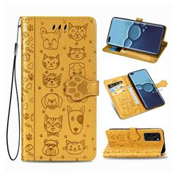 Embossing Dog Paw Kitten and Puppy Leather Wallet Case for Huawei P40 - Yellow