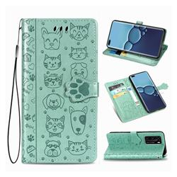 Embossing Dog Paw Kitten and Puppy Leather Wallet Case for Huawei P40 - Green
