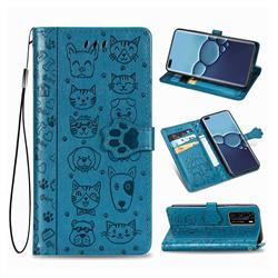 Embossing Dog Paw Kitten and Puppy Leather Wallet Case for Huawei P40 - Blue