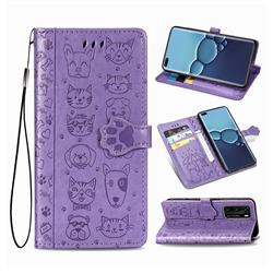Embossing Dog Paw Kitten and Puppy Leather Wallet Case for Huawei P40 - Purple