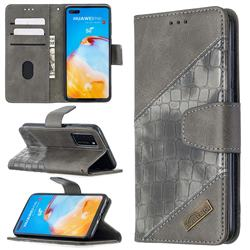 BinfenColor BF04 Color Block Stitching Crocodile Leather Case Cover for Huawei P40 - Gray