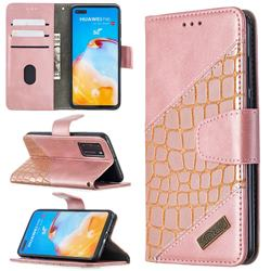 BinfenColor BF04 Color Block Stitching Crocodile Leather Case Cover for Huawei P40 - Rose Gold