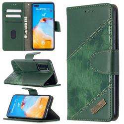 BinfenColor BF04 Color Block Stitching Crocodile Leather Case Cover for Huawei P40 - Green