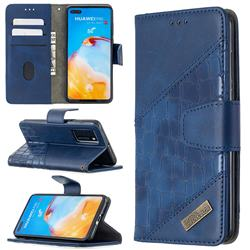 BinfenColor BF04 Color Block Stitching Crocodile Leather Case Cover for Huawei P40 - Blue