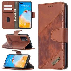 BinfenColor BF04 Color Block Stitching Crocodile Leather Case Cover for Huawei P40 - Brown