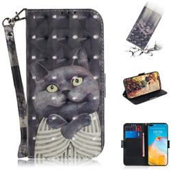 Cat Embrace 3D Painted Leather Wallet Phone Case for Huawei P40