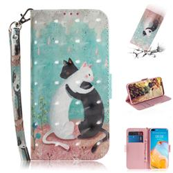 Black and White Cat 3D Painted Leather Wallet Phone Case for Huawei P40