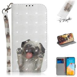 Pug Dog 3D Painted Leather Wallet Phone Case for Huawei P40