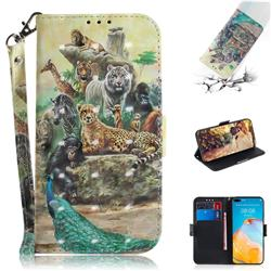 Beast Zoo 3D Painted Leather Wallet Phone Case for Huawei P40