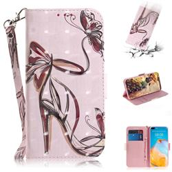 Butterfly High Heels 3D Painted Leather Wallet Phone Case for Huawei P40