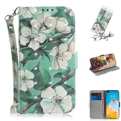 Watercolor Flower 3D Painted Leather Wallet Phone Case for Huawei P40