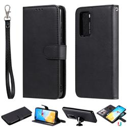 Retro Greek Detachable Magnetic PU Leather Wallet Phone Case for Huawei P40 - Black