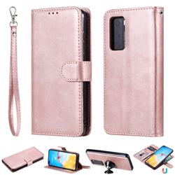 Retro Greek Detachable Magnetic PU Leather Wallet Phone Case for Huawei P40 - Rose Gold