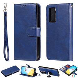 Retro Greek Detachable Magnetic PU Leather Wallet Phone Case for Huawei P40 - Blue