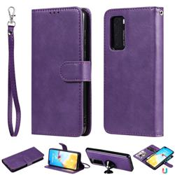 Retro Greek Detachable Magnetic PU Leather Wallet Phone Case for Huawei P40 - Purple
